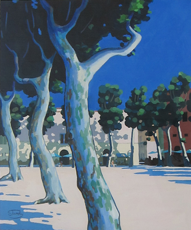 Plane Trees in Lucca acrylic on card 19 ins x 22½ ins