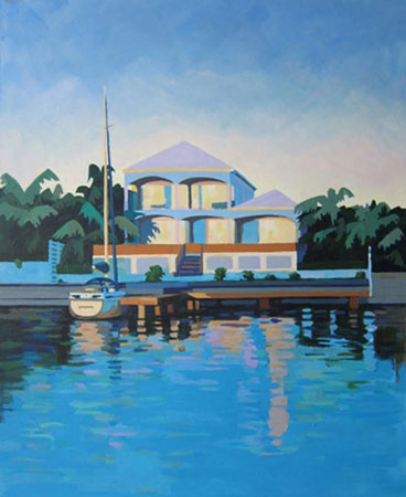 Jolly Harbour, Antigua acrylic on board 19 ins x 22 ins