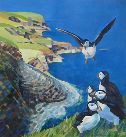 Staffa Puffins acrylic on paper 15 ins x 16 ins