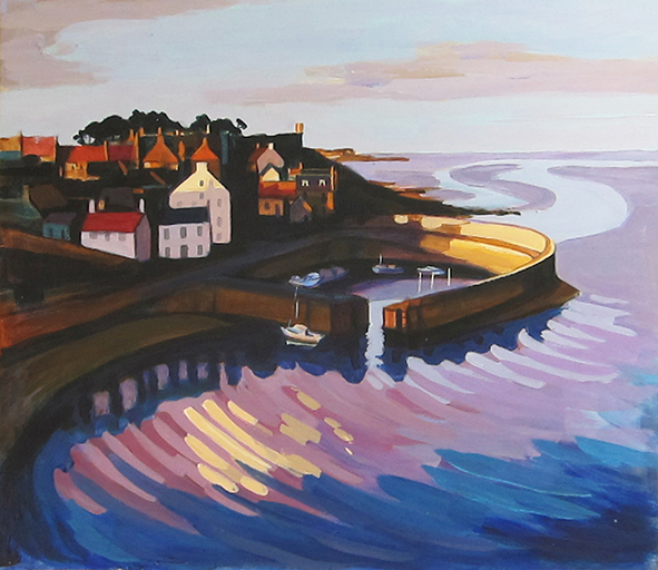 Crail Harbour - acrylic on card - 12 ins x 10 ins <h3><center>*** SOLD ***</center></h3>