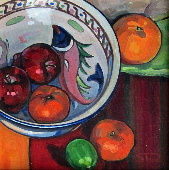 Fishy Fruit Bowl - acrylic on canvas - 12 ins x 12 ins