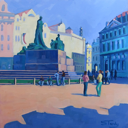Old Town Square, Prague acrylic on canvas 12 ins x 12 ins